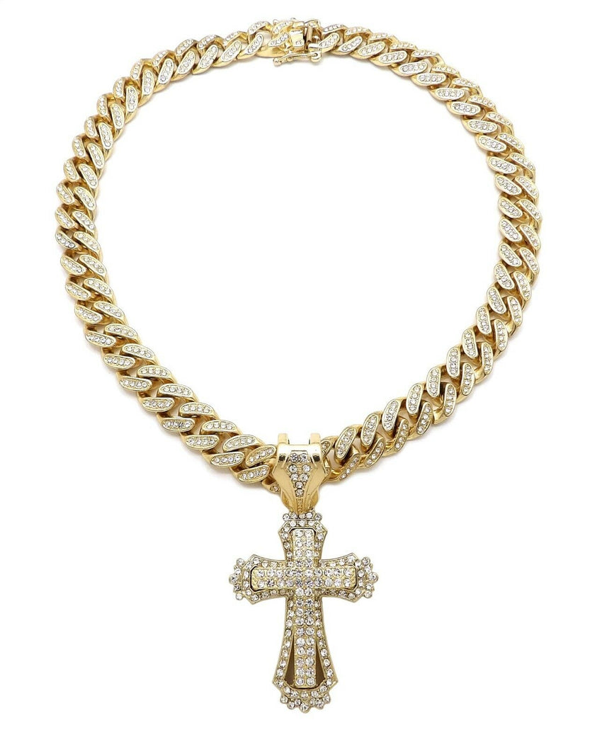 "Hip Hop Cross Pendant & 12mm 18"" Iced out Box Lock Cuban Choker Chain Necklace"