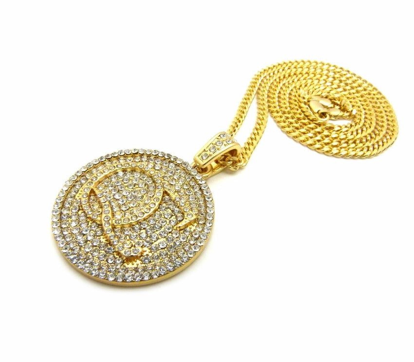"Iced Out Quavo QC Round Pendant & 24"" Box, Cuban, Rope Chain Hip Hop Necklace"