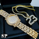 Men's Hip Hop Iced Out Lab Diamond Watch & NO. 23 pendant 1 Row Tennis Chain Set