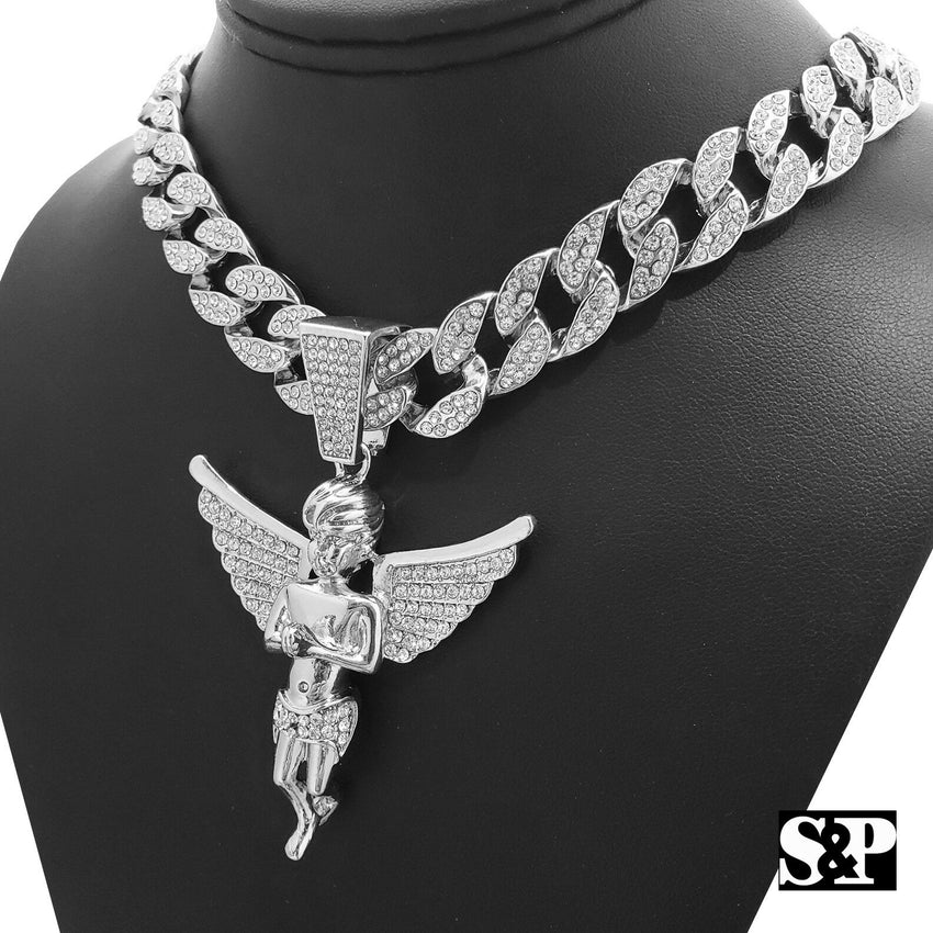 "Hip Hop Bling Baby Angel Pendant & 18"" Full Iced Cuban Choker Chain Necklace"