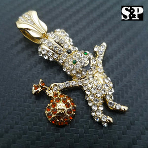 HIP HOP ICED OUT LAB DIAMOND GOLD PLATED RAPPER'S BLING DOUGHBOY PENDANT