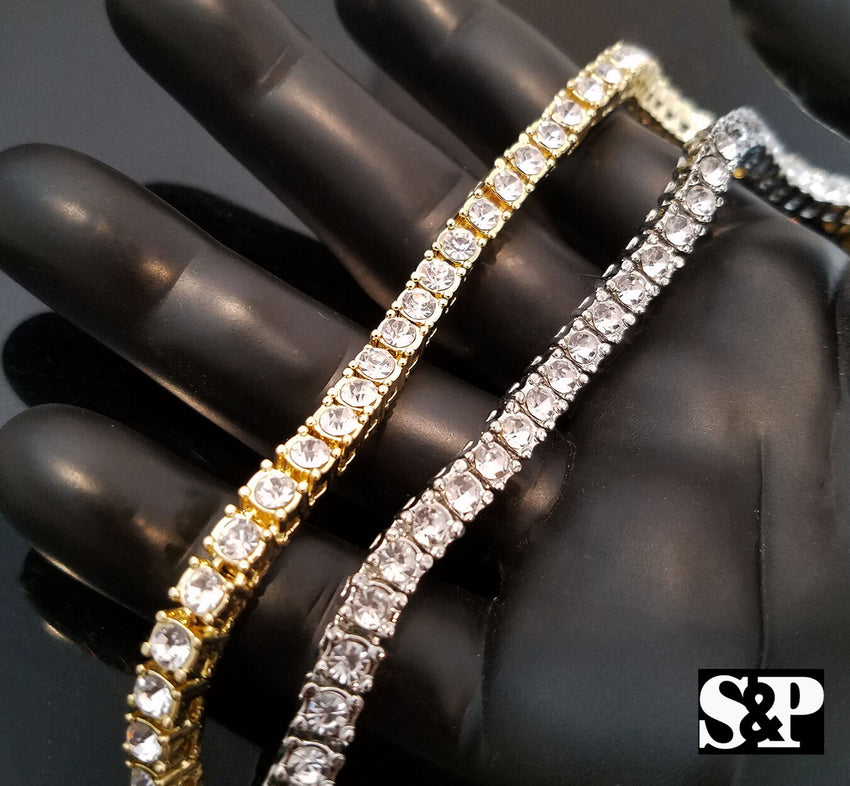 "Hip Hop Rapper's Iced out Quavo Choker 18"" 1 ROW DIAMOND TENNIS CHAIN NECKLACE"