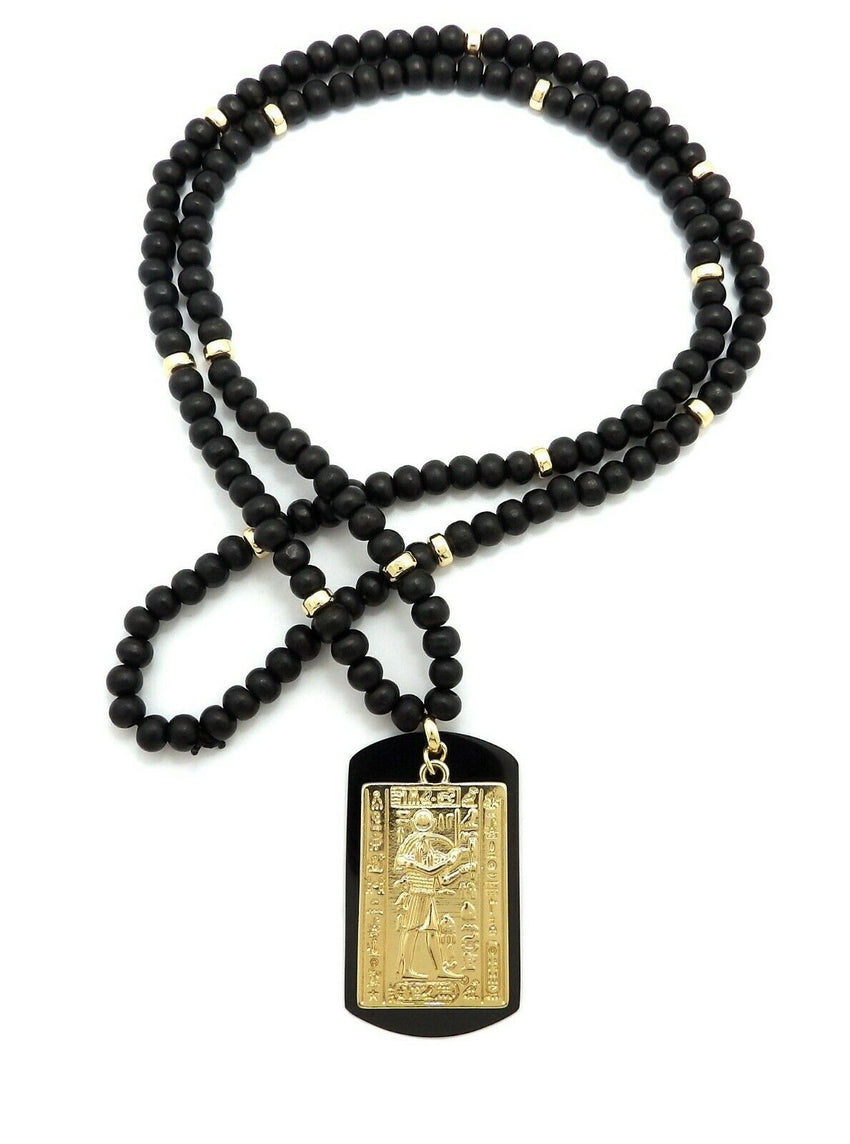 "Hip Hop Iced Egyptian Tablet & Dog Tag Pendant w/ 6mm 30"" Wooden Bead Necklace"