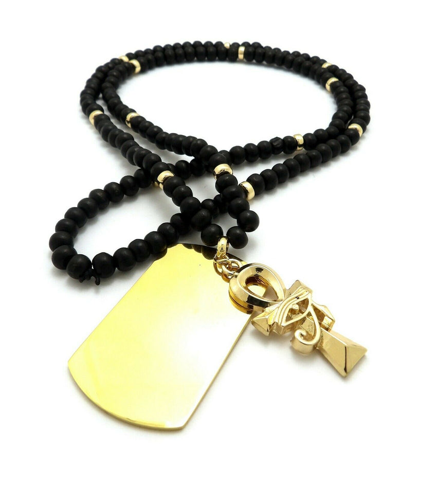 "Hip Hop Eye of Horus Ankh Cross Dog Tag Pendant & 6mm 30"" Wooden Bead Necklace"