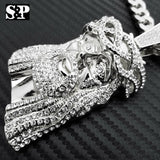 "HIP HOP SILVER PT ICED OUT JUMBO JESUS CZ PENDANT, 10mm 30"" CUBAN CHAIN NECKLACE"