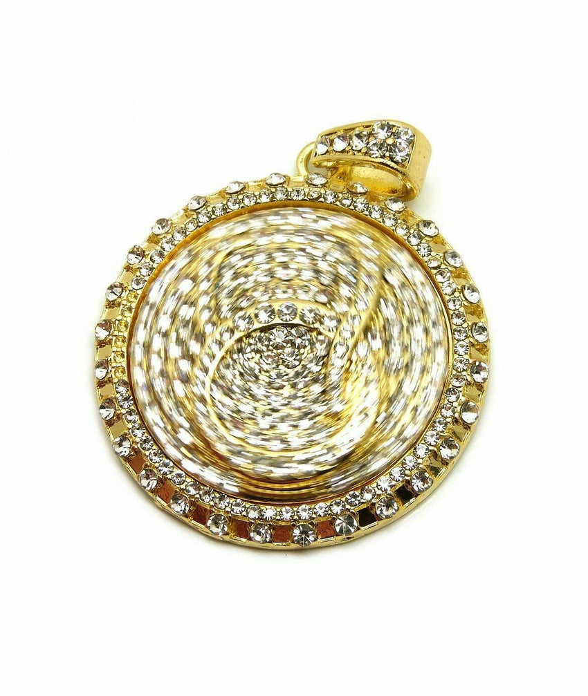 ICED OUT HIP HOP LAB DIAMOND GOLD PLATED 'QC' QUALITY CONTROL SPINNER PENDANT