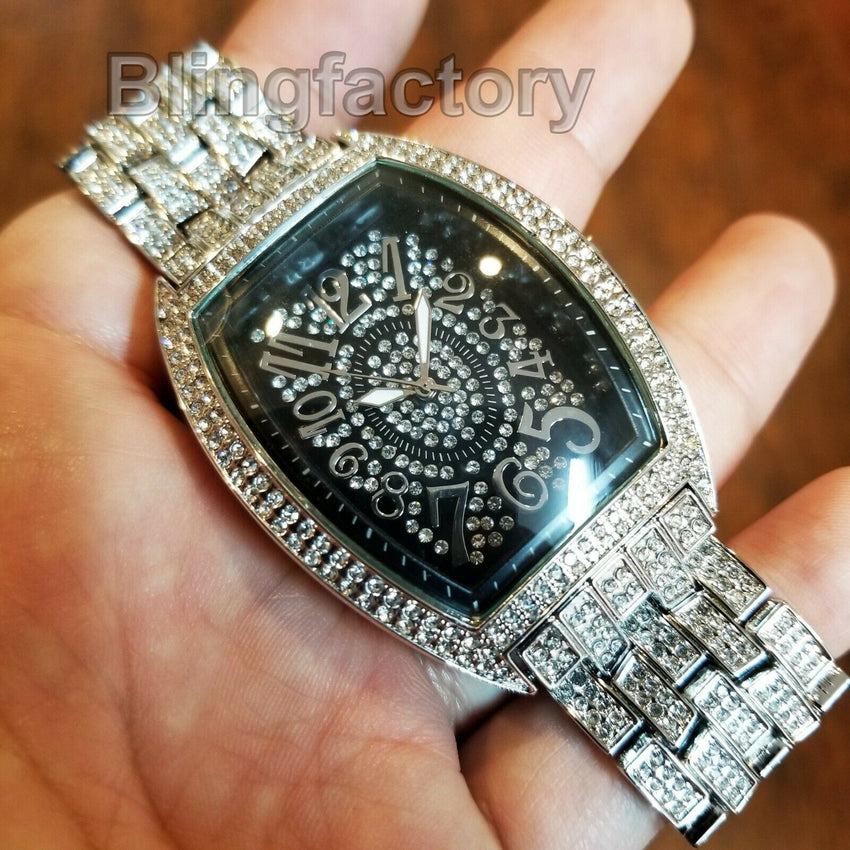 Luxury Fashion Iced out Rapper Lab Diamond Metal Band Dress Clubbing wrist Watch