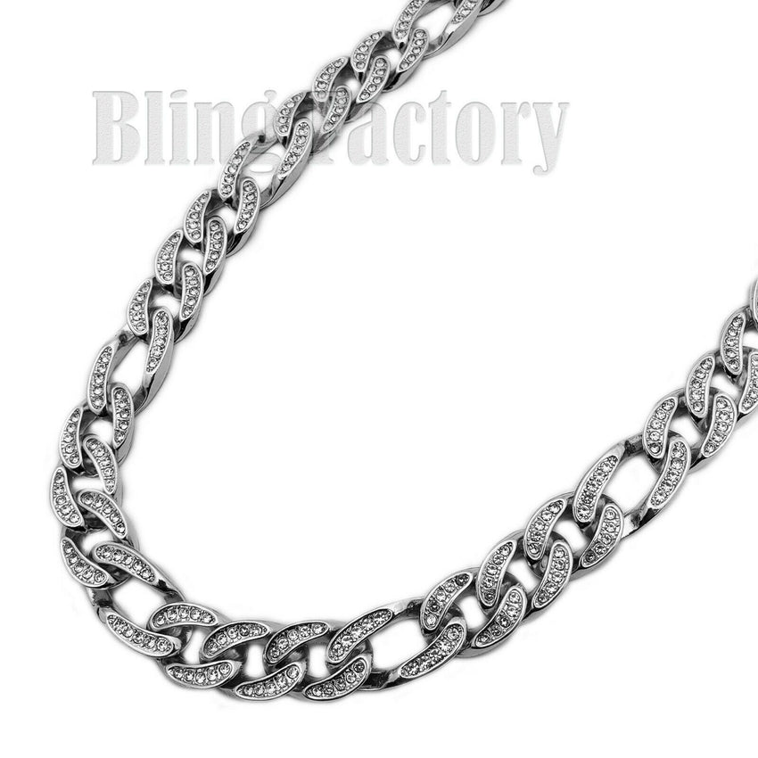 "Hip Hop Men Quavo White Gold PT Iced Out 12mm 20"" Figaro Choker Chain Necklace"