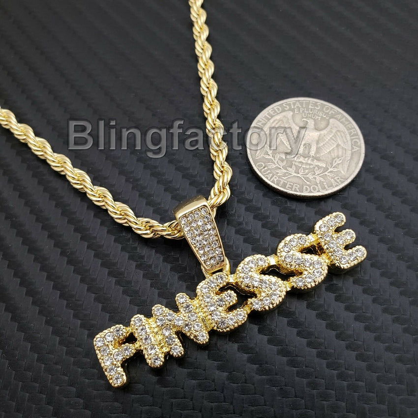 "Hip Hop Iced out Lab Diamond FINESSE Pendant, 4mm 24"" Rope Chain Necklace"