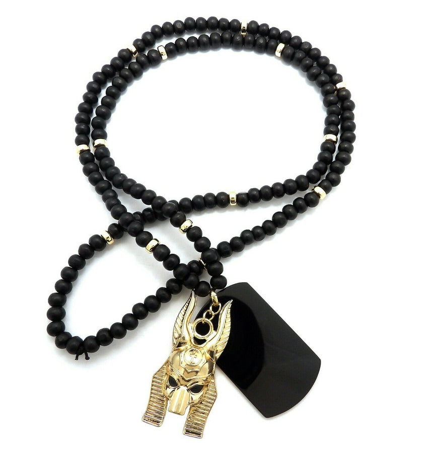 "Hip Hop Egyptian Gold Anubis & Dog Tag Pendant & 6mm 30"" Wooden Bead Necklace"
