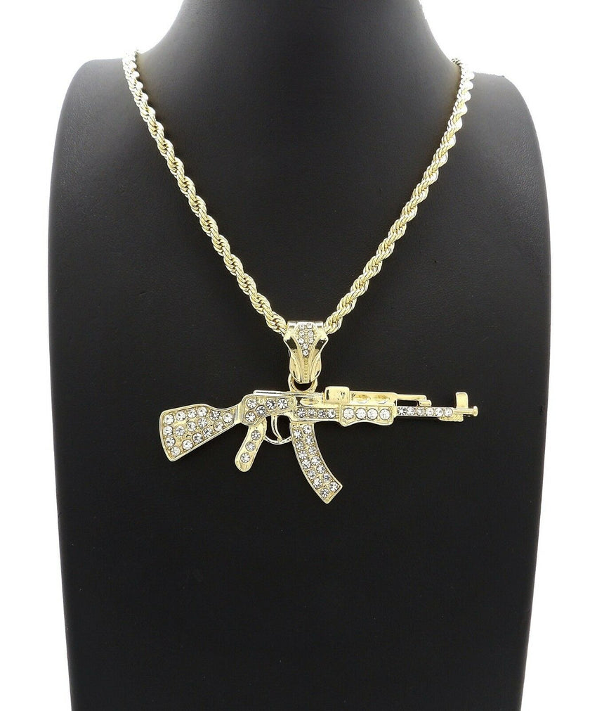 "HIP HOP ICED GOLD PT AK45 MACHINE GUN PENDANT & 4mm 24"" ROPE CHAIN NECKLACE"