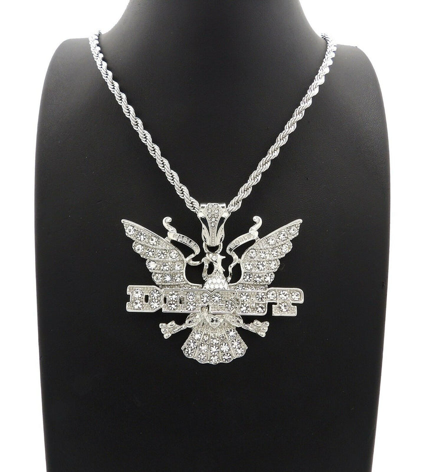 "HIP HOP ICED OUT SILVER PLATED DIPSET PENDANT & 4mm24"" ROPE CHAIN NECKLACE"