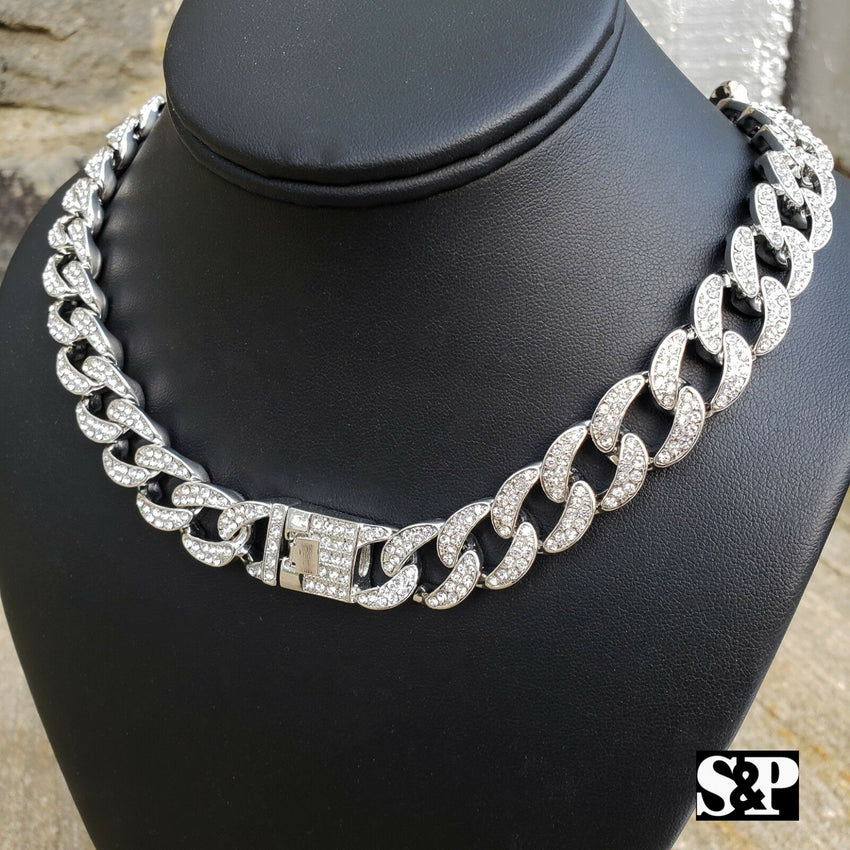 "Hip Hop Full Iced Out White Gold plated 16"",18"", 20"", 24"", 30"" Miami Cuban Link Choker Necklace"
