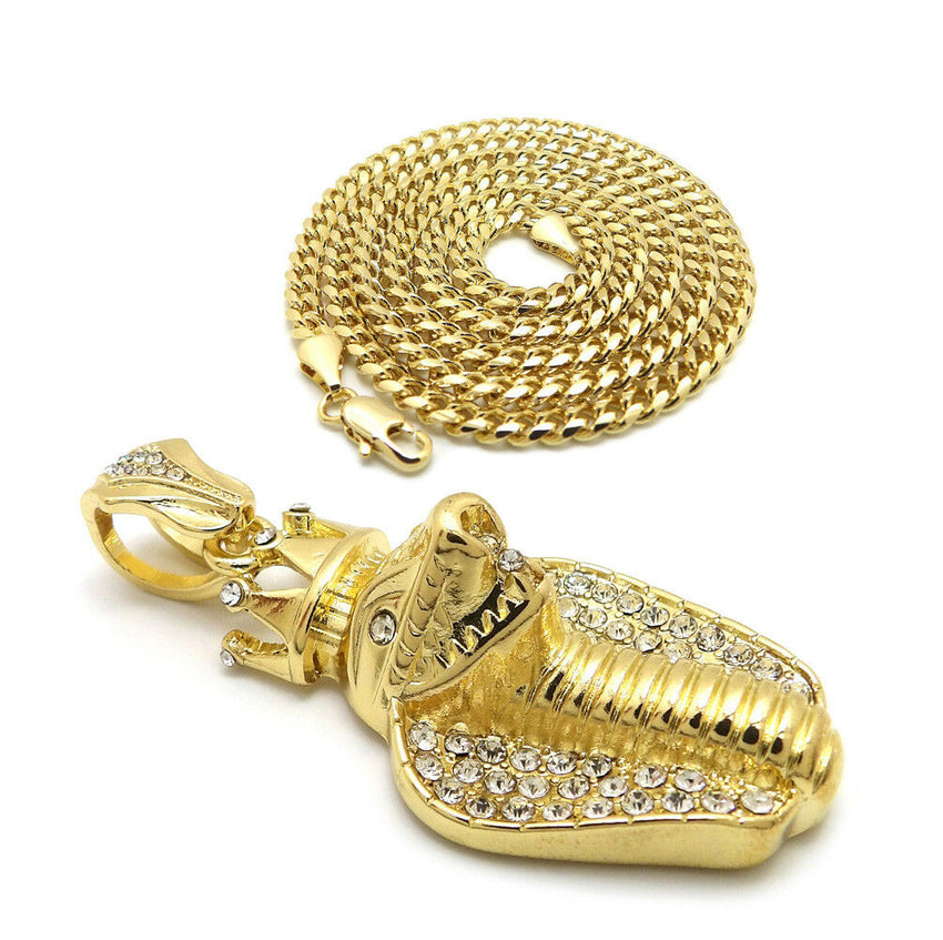 "Iced Out King Crowned Cobra Pendant & 24"" Box, Cuban, Rope Chain Hip Hop Necklace"