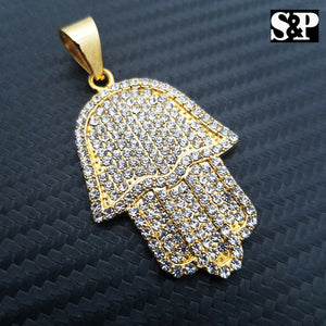 HIP HOP STAINLESS STEEL ICED OUT LAB DIAMOND GOLD PLATED HAMSA HAND PENDANT