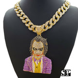 "Hip Hop Large JOKER Pendant & 20"" Full Iced Miami Cuban Choker Chain Necklace"