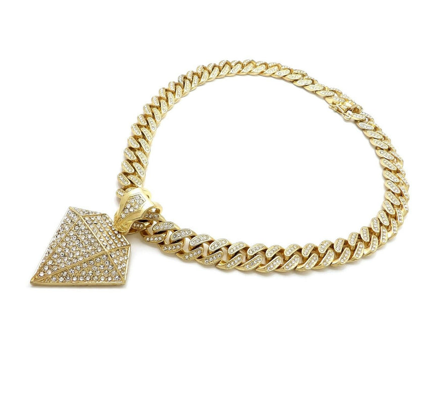 "Hip Hop Diamond Shape Pendant 18"" Iced out Box Lock Cuban Choker Chain Necklace"
