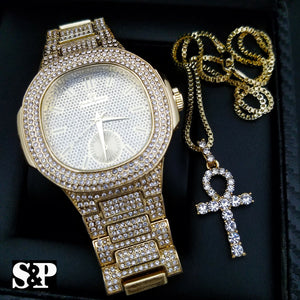 MEN'S HIP HOP GOLD PT QUAVO LUXURY WATCH & ICED OUT ANKH NECKLACE COMBO SET