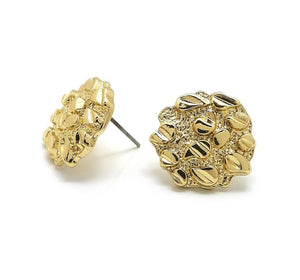 Unisex Hip Hop Style Iced out Gold plated Cookie Nugget Fashion Stud Earrings