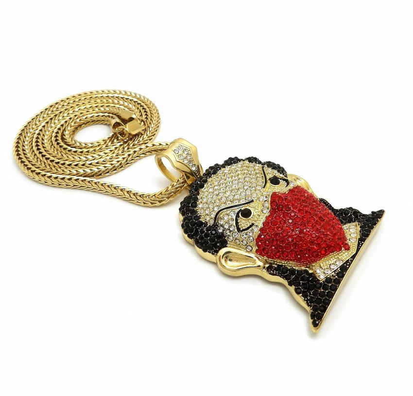 "Hip Hop Iced Out Red Masked Bandana Goon Pendant & 4mm 36"" Franco Chain Necklace"