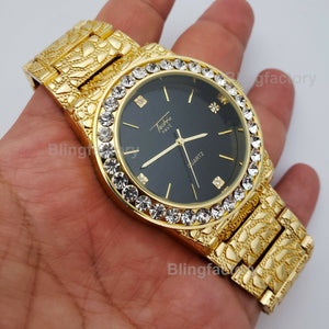 Mens Iced Luxury Urban Hip Hop Golden Nugget Bling Black Dial Wrist Dress Watch