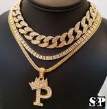"Hip Hop Quavo Choker 16"" Full Iced Cuban & 1 ROW DIAMOND CHAIN & ""P"" Necklace"