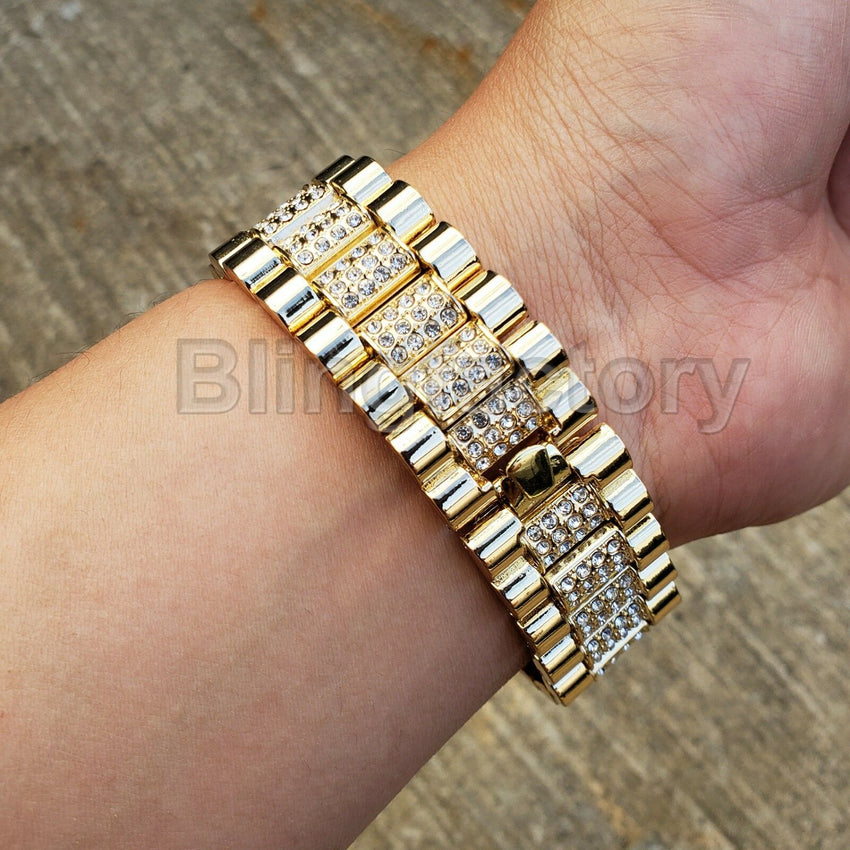 Men Hip Hop Iced out Bling Gold PT Migos Bling BIG Simulated Diamond Watch
