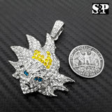 ICED OUT HIP HOP LAB DIAMOND WHITE GOLD PT SON GOKU CARTOON CHARACTER PENDANT