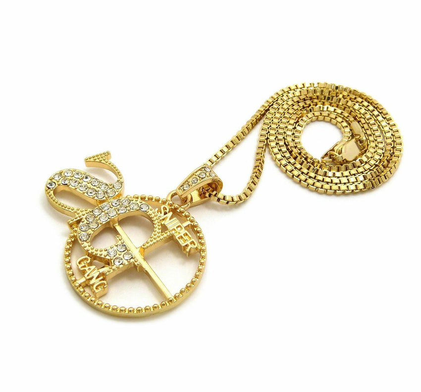 "ICED OUT HIP HOP 'SG' SNIPER GANG PENDANT & 24"" BOX, CUBAN, ROPE CHAIN NECKLACES"