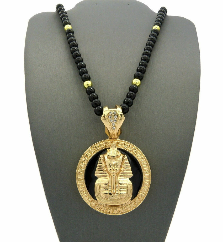 "Gold PT KING-TUT PHARAOH Pendant & 6mm/30"" Black Beads Chain Hip Hop Necklace"
