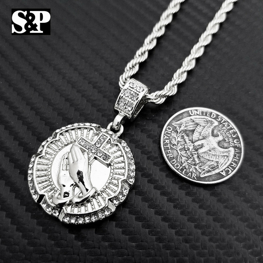 "New Hip Hop Iced Out Praying Hand w/ Cross Pendant & 4mm 24"" Rope Chain Necklace"