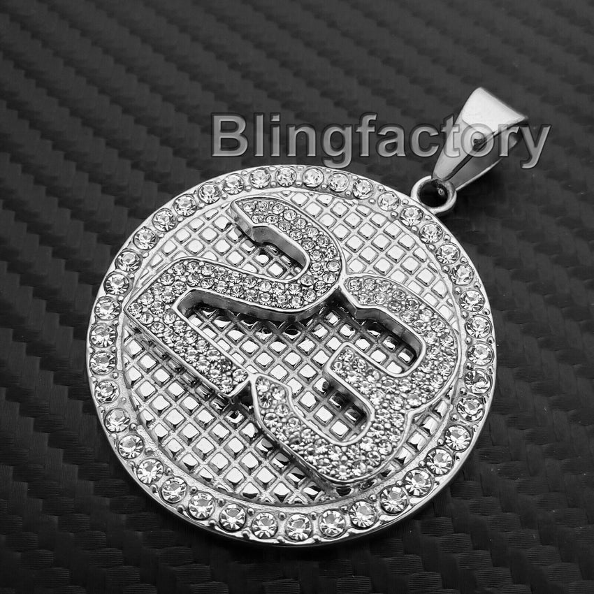 Iced out Hip Hop Stainless steel Number 23 CZ Stones Medal Charm Pendant