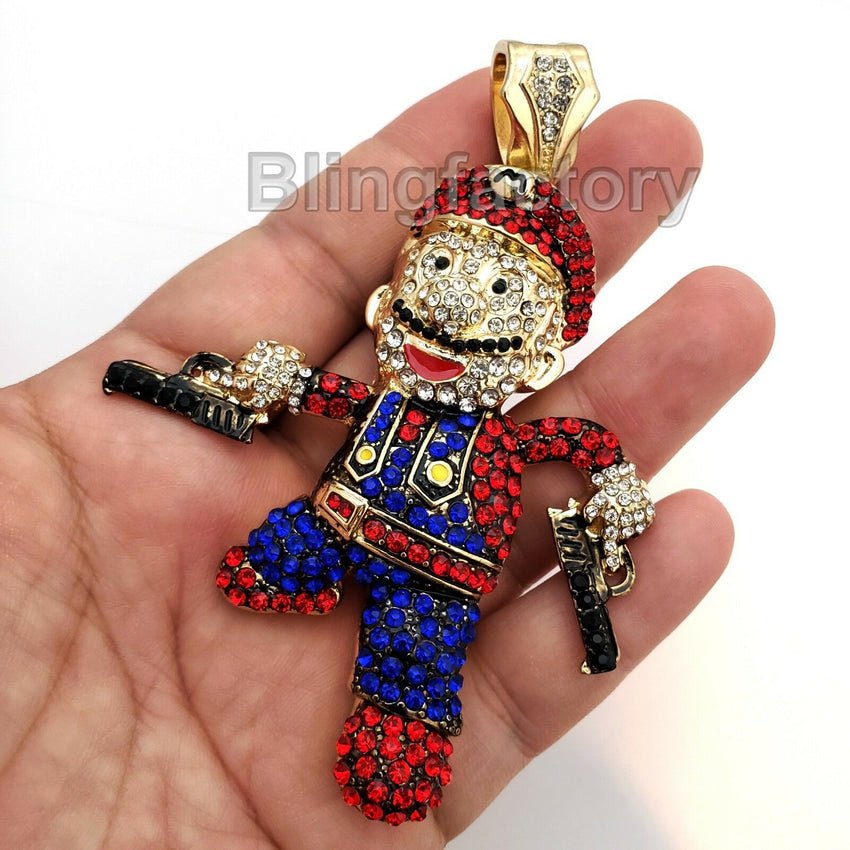Iced out Hip Hop Mario Gun Man Gold & Silver plated Lab Diamond Large Pendant
