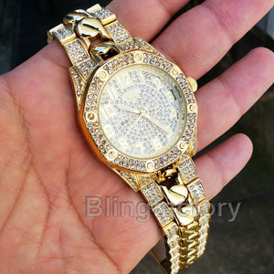 Men's Gold Plated Iced out Luxury Migos Rapper's Metal Band Dress Clubbing Watch