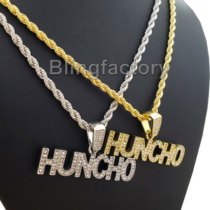 Hip Hop Iced out Lab Diamond HUNCHO Pendant & 4mm 24