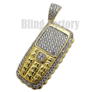 HIP HOP ICED OUT GOLD PLATED BRASS RETRO THROWAWAY PHONE CHARM PENDANT