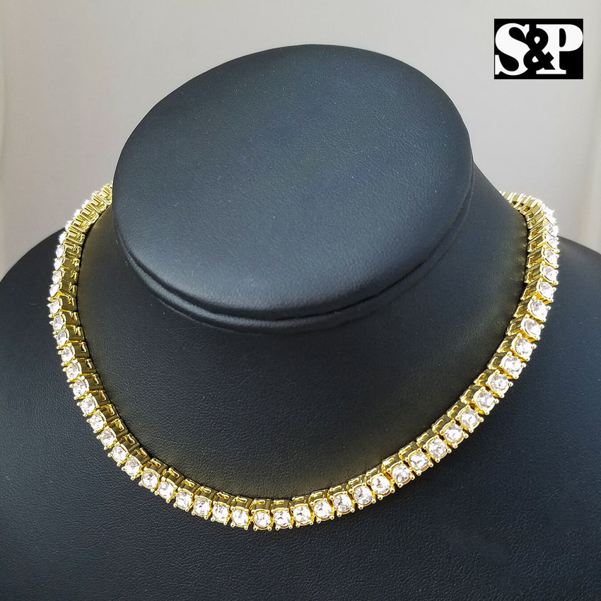 "Hip Hop QC ROUND Pendant w/ 18"" Full Iced Cuban & 1 ROW DIAMOND Choker Chain Set"