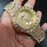 MEN'S HIP HOP QUAVO GOLD PT LUXURY WATCH & GLITTERED CUBAN BRACELET COMBO SET