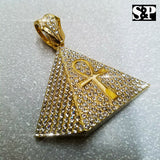 HIP HOP RAPPER'S ICED OUT GOLD PLATED EGYPTIAN ANKH CROSS PYRAMID PENDANT