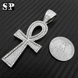 HIP HOP ICED OUT LAB DIAMOND WHITE GOLD PLATED BLING ANKH CROSS PENDANT