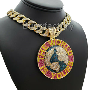 ICED OUT THE WORLD IS YOURS PENDANT & 18