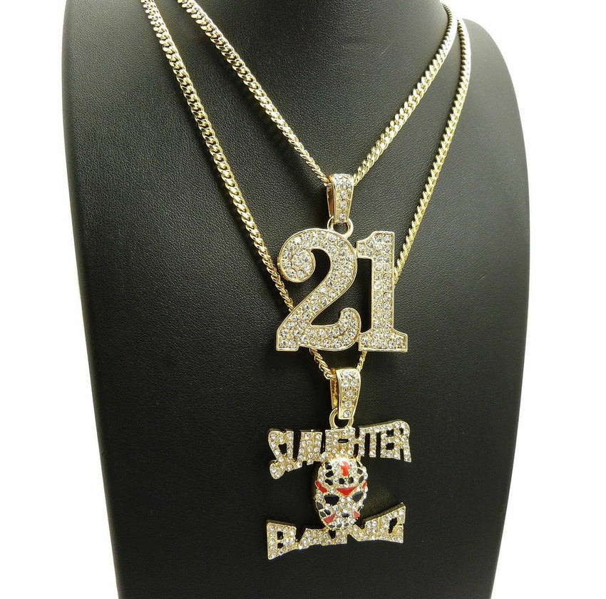 ICED OUT SAVAGE 21 & SLAUGHTER GANG PENDANT & CUBAN CHAINS HIP HOP NECKLACE SET
