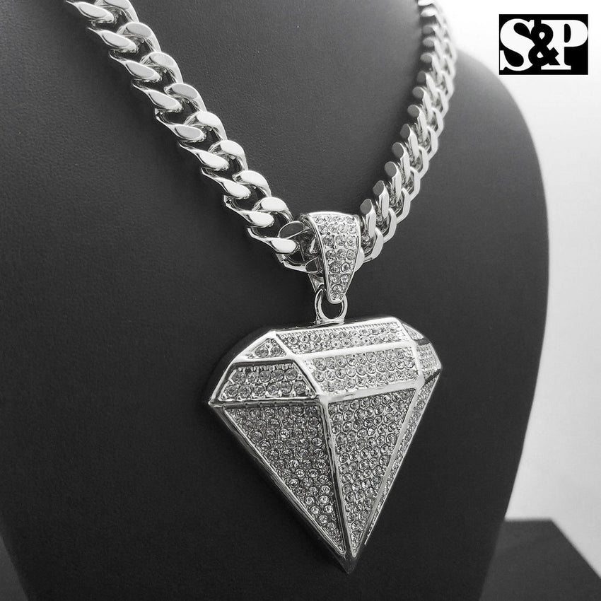 "White Gold PT Big Diamond Shape Pendant & 10mm 30"" Cuban Chain Hip Hop Necklace"