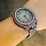Men's Hip Hop Iced out Jet Black Bling Simulated Lab Diamond Rapper Metal Watch