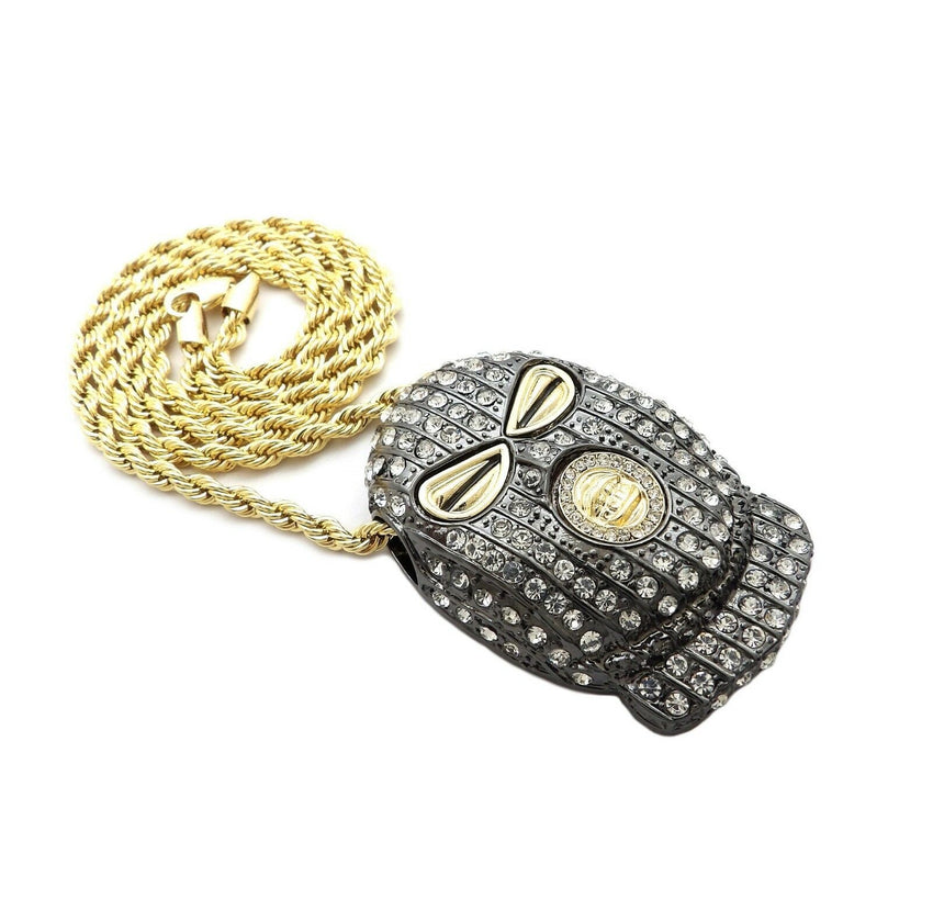"HIP HOP ICED OUT GOLD PT MASKED GOON PENDANT & 4mm 24"" ROPE CHAIN NECKLACE"