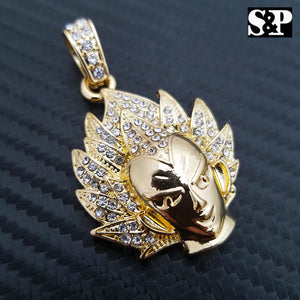 ICED HIP HOP GOLD PLATED DRAGON BALL VEGETA CARTOON CHARACTER CHARM PENDANT