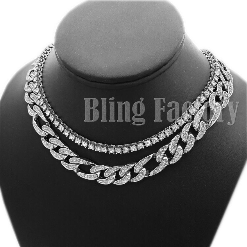 "Hip Hop Iced out Silver plated 18"" Figaro & 1 Row Tennis Choker Chain Necklace"