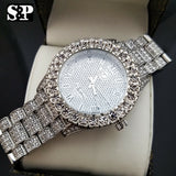 Men Hip Hop Iced Bling White Gold PT Rapper's Bling Simulated Diamond Watch