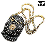 "Mens Hip Hop Gun Metal Black Goon Mask Pendant & 1 Row 18"" Tennis Chain Necklace"