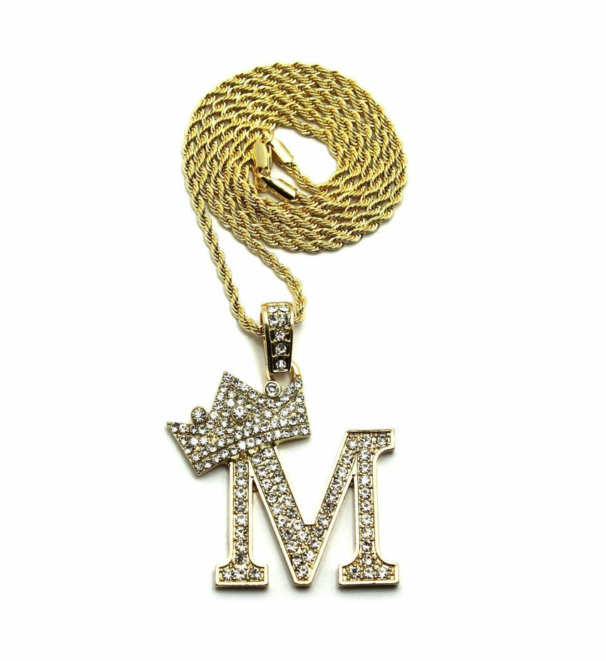 "Iced Crowned Alphabet M Pendant & 24"" Rope / Box / Cuban Chain Hip Hop Necklace"